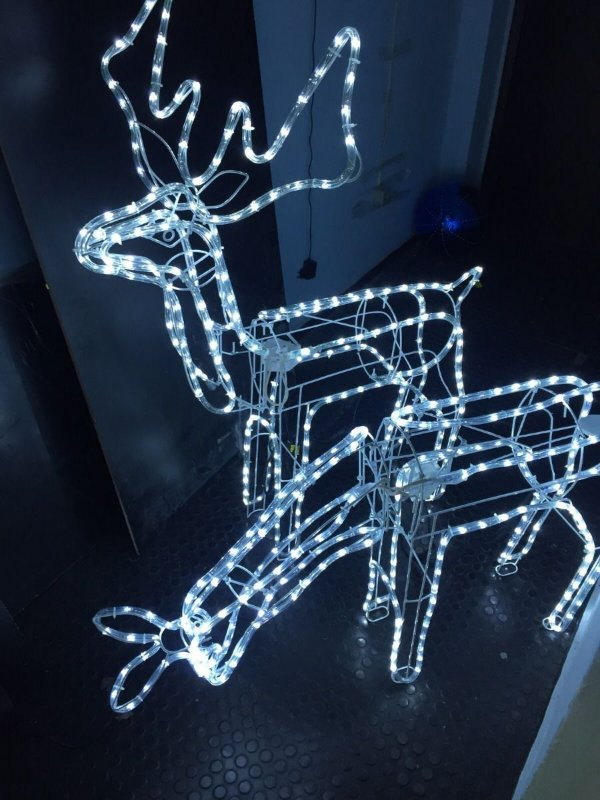 Rena de Natal P/ Jardim- com Movimento- Mangueira de LED Azul -Fêmea