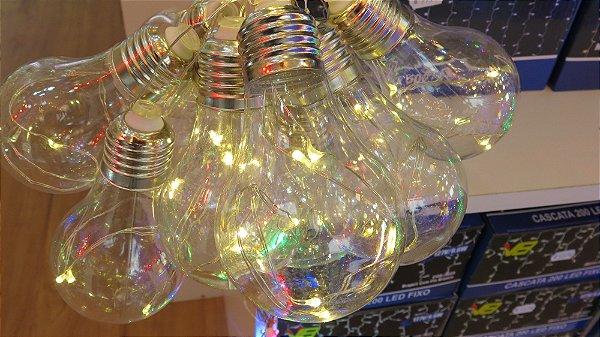 Cordão com 10 Lâmpadas de LED bulbo -  5 Metros - Branco Quente