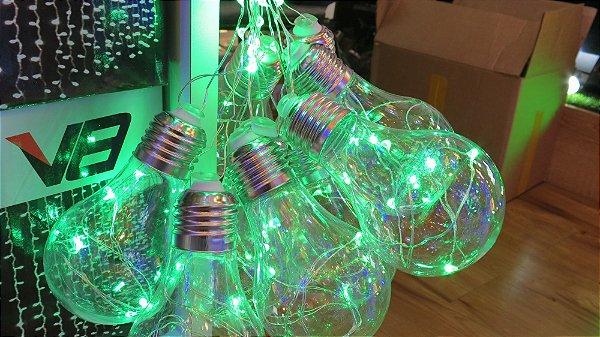 Cordão com 10 Lâmpadas de LED bulbo - 5 Metros - Verde