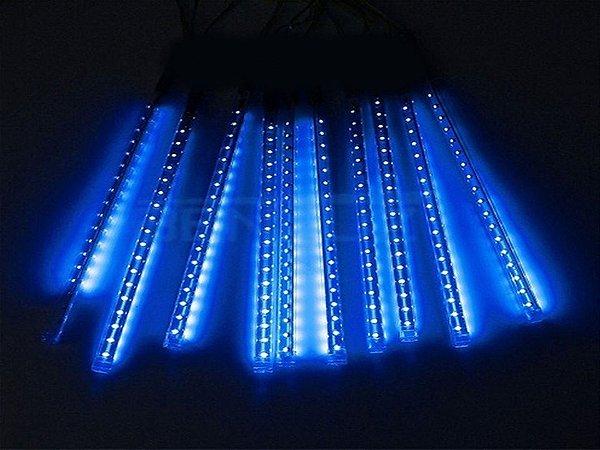 Tubo LED Snow Fall Sequencial com 8 Tubos 50CM Azul Bivolt