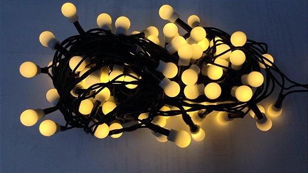 Pisca Pisca 100 Bolas de  LED Branco Quente com 8 Funções de Pisca - 127V