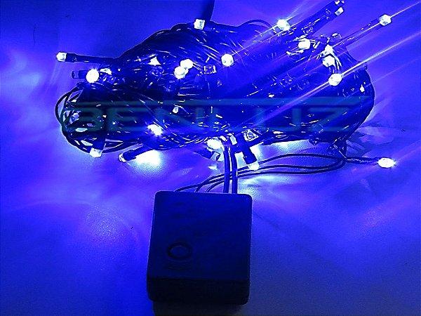 Cordão sequencial 100 LEDs Fio Verde 9,7 Metros Azul 110V