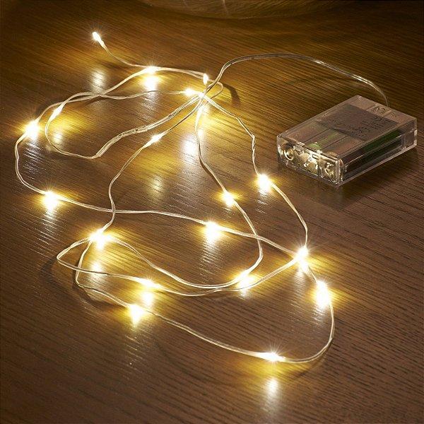 Cordão de Cobre 100 LEDs Fio de Fada 10 metros Branco Quente  - Pilha ou USB