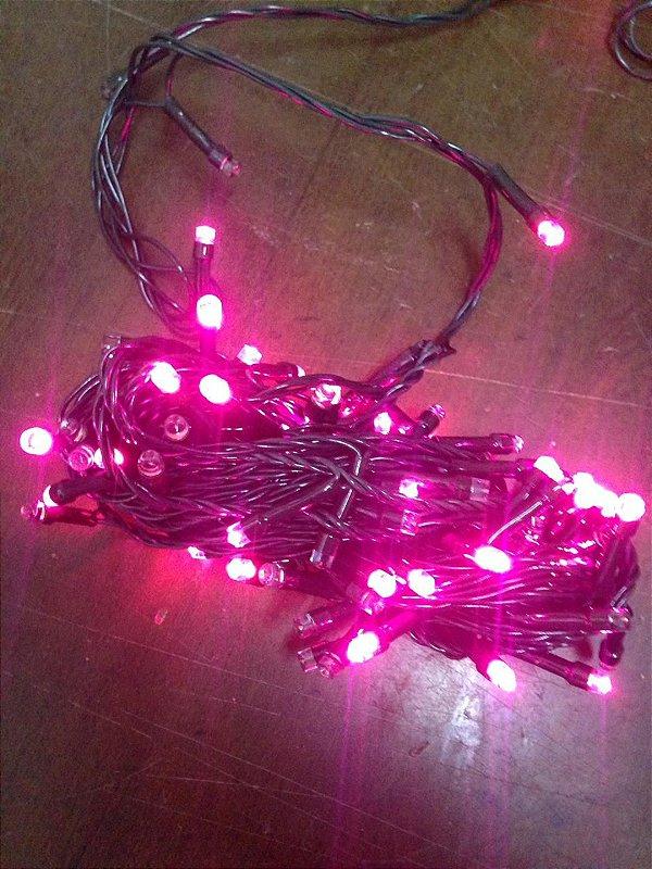 Cordão Fixo 100 LEDs - Luz Rosa - 10 Metros Fio Verde Blindado (M/F) - 220V