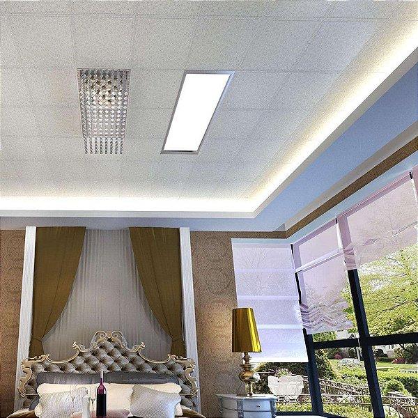 Painel Plafon Downlight Slim Led de Embutir 45W Branco Morno 32X122 Bivolt