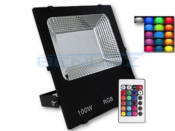 Refletor Holofote De LED 100W RGB com Controle