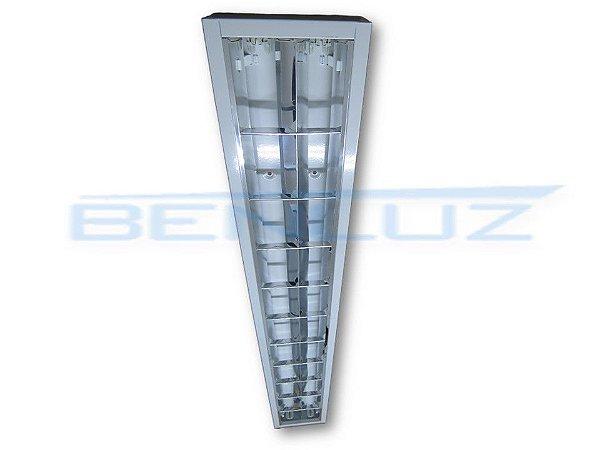 Luminária Comercial de Embutir c/Aletas para 2 x 14 16 20w ou led 2 x 9w T8 ou T5