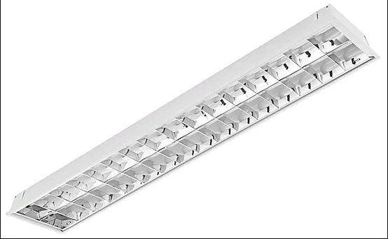 Luminária Comercial de Embutir com Aletas para tubo HO 2 x 110w ou Led 2 x 42w