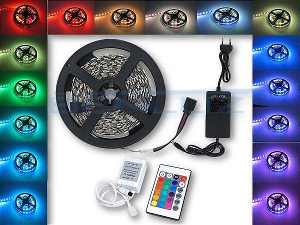Kit de Fita LED 5050 RGB 5M 12V s/Silicone c/Fonte 2A + Controle