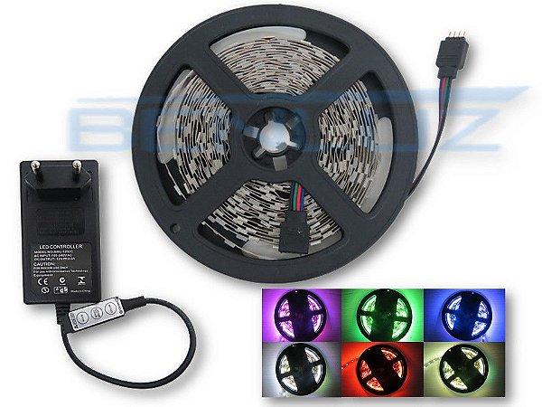 Kit de Fita LED 5050 RGB 5M 12V sem Silicone + Fonte controle manual