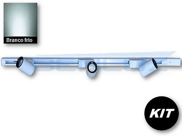 𝐊𝐈𝐓 - 3 Spots 7W Branco + trilho de 1 Metro Branco Frio