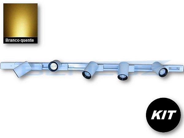 𝐊𝐈𝐓 - 5 Spots 7W Branco + trilho de 1 Metro - Branco Quente