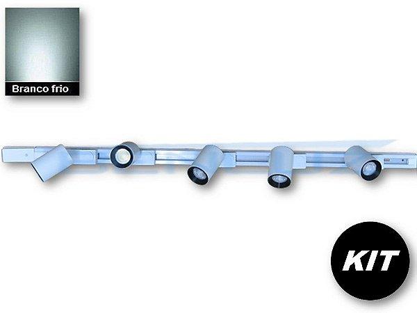 𝐊𝐈𝐓 - 5 Spots 7W Branco + trilho de 1 Metro - Branco Frio