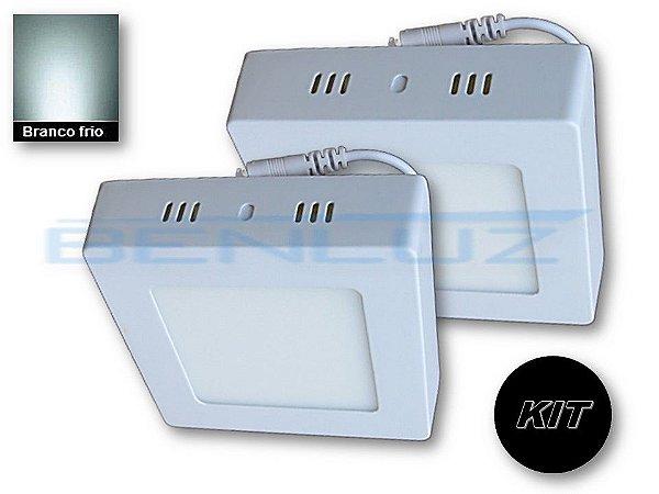𝐊𝐈𝐓 - Luminária 2 Plafons LED 6W 12x12 Quadrado De Sobrepor Branco Frio
