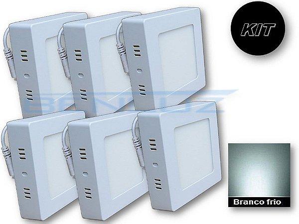 𝐊𝐈𝐓 - Luminária 6 Plafons LED 6W 12x12 Quadrado De Sobrepor Branco Frio