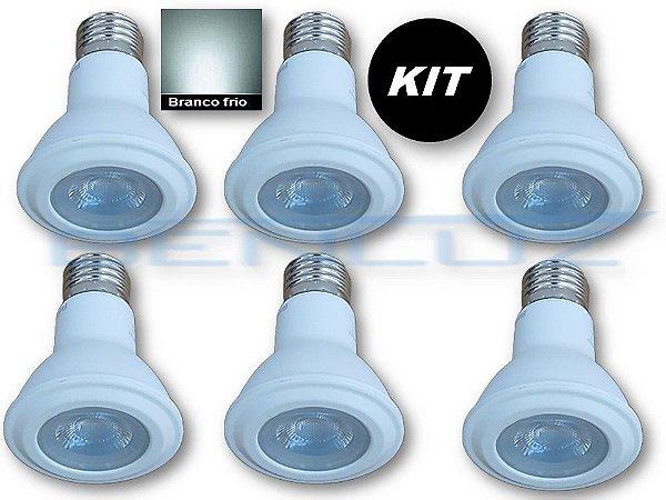 𝐊𝐈𝐓 - 6 Lâmpada LED PAR20 7W Branco Frio