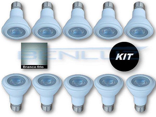𝐊𝐈𝐓 - 10 Lâmpada LED PAR20 7W Branco Frio