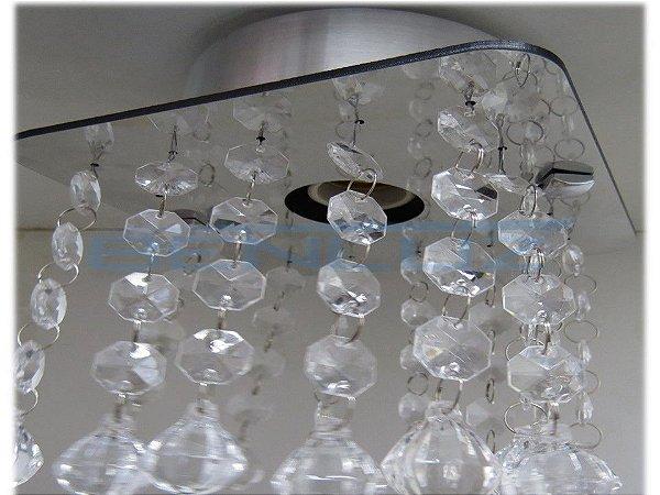 Lustre Espelhado Quadrado Fixo com 16 Ponteiras