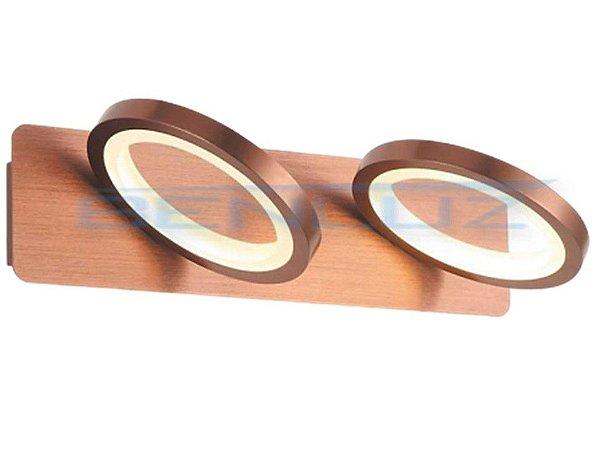 Arandela 34×9×17.8cm Marrom Aluminio+acrilico LED 12W 3000k Bivolt