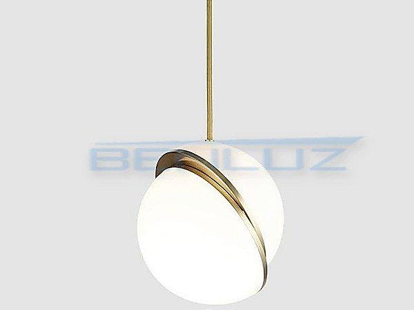 Pendente 30×30×200cm Dourado Fosco Aluminio+acrilico E27