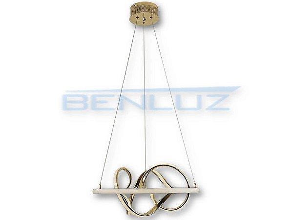 Pendente Φ52cm Dourado Acrilico Aluminio LED 40W 3000k Bivolt