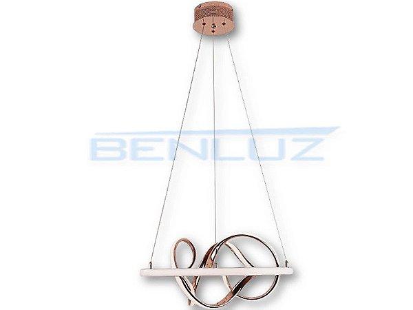 Pendente Φ52cm Rose Acrilico Aluminio LED 40W 3000k Bivolt