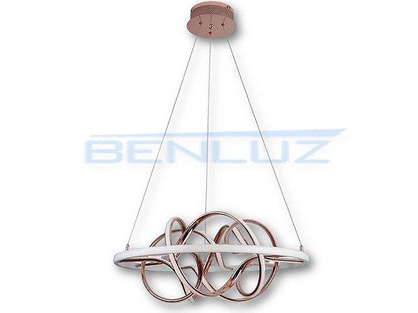 Pendente Φ67cm Dourado Acrilico Aluminio LED 74W 3000k Bivolt