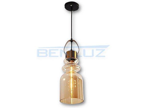Pendente 15×41cm Amber+cobre Vidro E27