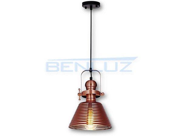 Pendente 22.5×30cm Bronze Vidro E27