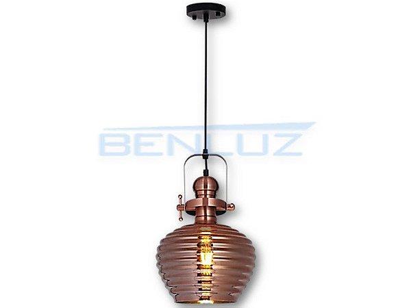 Pendente 25×36cm Bronze Vidro E27