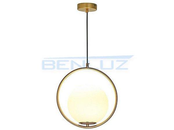 Pendente 35cm Dourado Branco Vidro E27