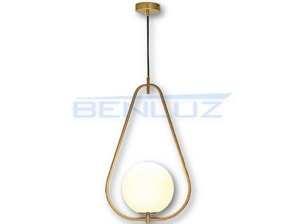 Pendente 33×55cm Dourado Branco Vidro E27