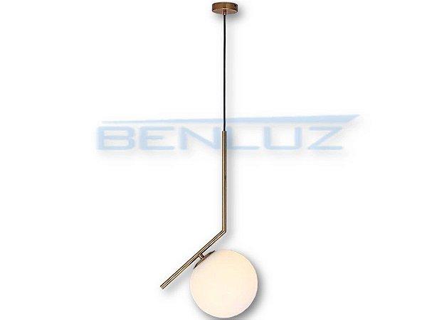 Pendente 29×45cm Dourado Branco Vidro E27