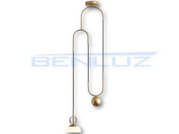 Pendente 35×120cm Dourado Branco Vidro E27
