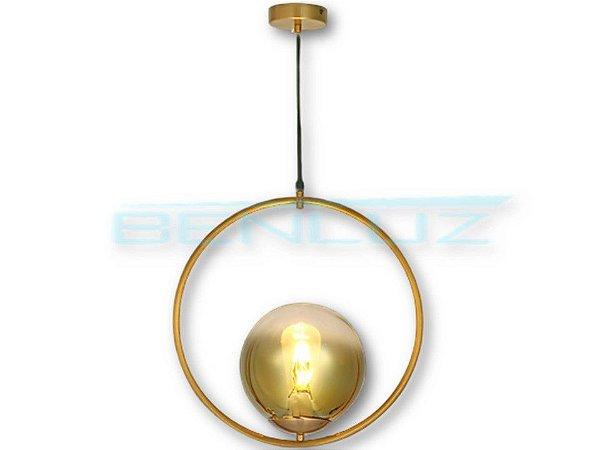 Pendente Φ50×120cm Dourado Metal+vidro Dourado E27
