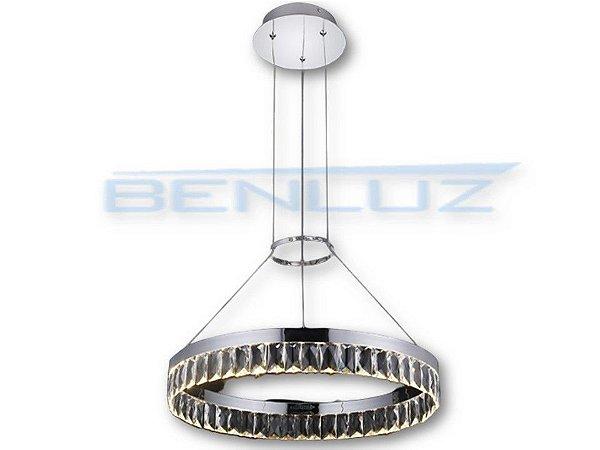 Pendente Φ50cm Aluminio e Cristal LED 28W 3000k 1750lm Bivolt