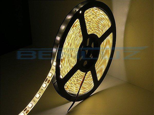 Fita LED SMD 14,4W 5M 5050 Branco Quente com Silicone 12V IP65