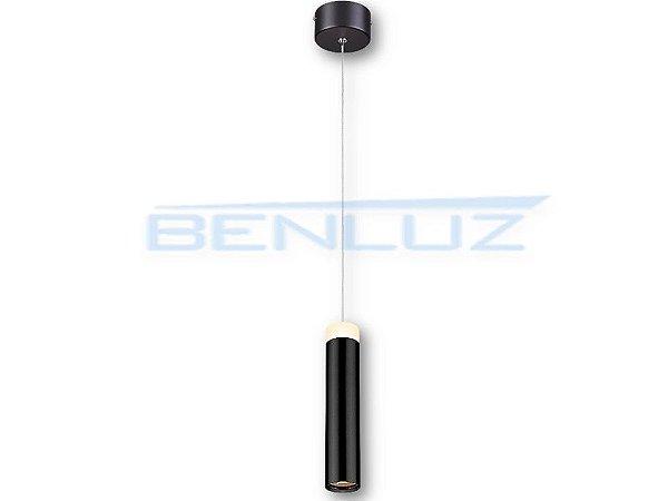 Pendente 5×20×150cm Preto Aluminio Aclirico LED 7W 3000k Bivolt