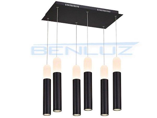 Pendente 50×30×h120cm Preto Acrilico Aluminio LED 60W 3000k 2260lm