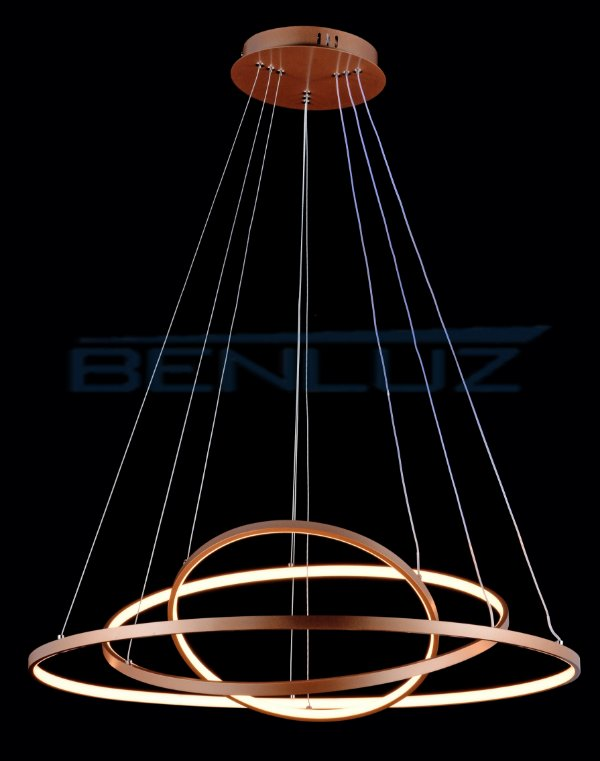 Pendente 40×60×80cm Metal Silicone LED Dourado Fosco 90W 3000k Bivolt