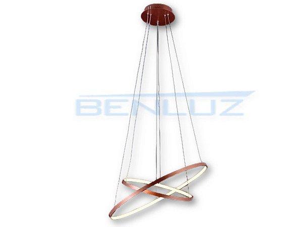 Pendente 40×60cm Metal Silicone LED Bronze 50W 3000k Bivolt