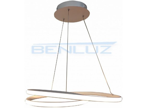 Pendente 50×50×20cm Metal e Silicone Branco LED 40W 3000k Bivolt