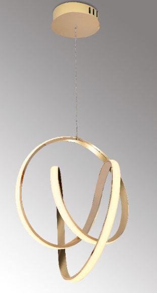 Pendente 56×56×120cm Metal e Silicone Dourado Led 66w 3000k Bivolt