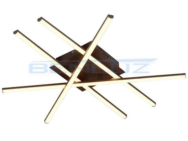Plafon 61×25×8cm Metal e Silicone Led Marrom 38w 3000k Bivolt