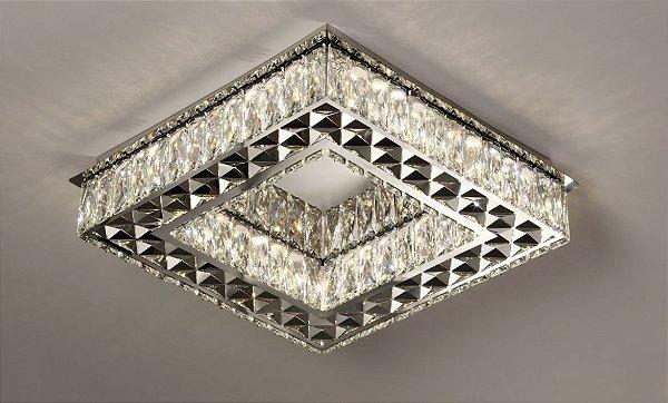 Plafon Quadrado 45cm Cristal Led 3000k 4000k 6000k Controle Bivolt