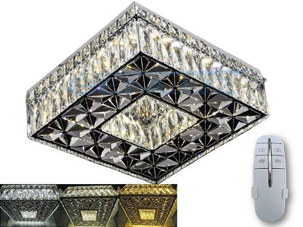 Plafon Quadrado 35cm Cristal LED 32W com controle Controle Bivolt