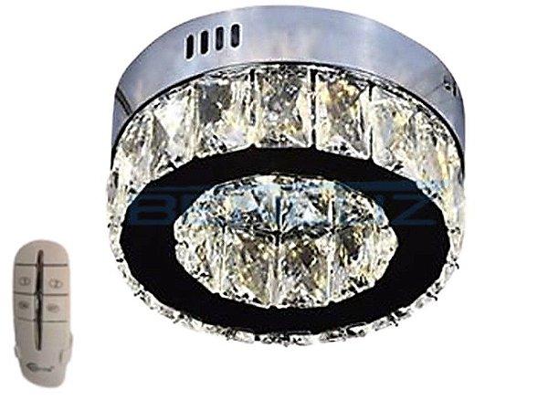 Plafon 20cm Cristal Led 6w 3000k 4000k 6000k 600lm Controle Bivolt