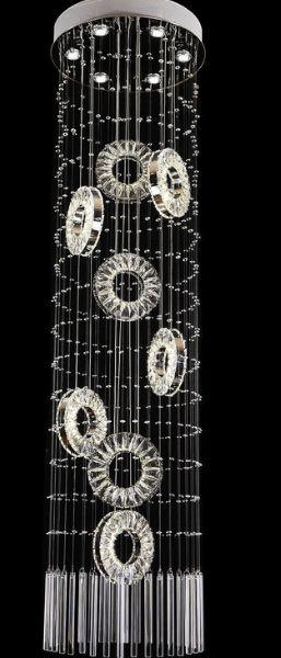 Pendente 50×187cm Cristal Led 86w 3000k 4000k 6000k 5600lm Controle Bivolt