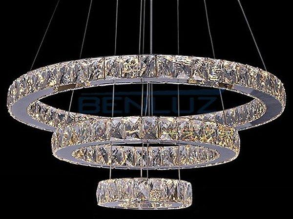 Pendente 20×40×60cm Cristal Led 90w 3000k 4000k 6000k 4500lm Controle Bivolt