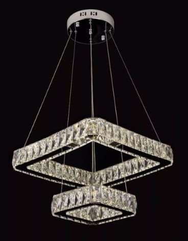 Pendente Quadrado 30×50cm Cristal Led 72w 3000k 4000k 6000k 4800lm Controle Bivolt